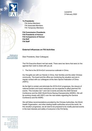 The FAI President, Mr Bob Henderson has released a letter from the FAI detailing current external Influences on FAI Activities. In particular the letter details the effects of the 2019-nCoV coronavirus outbreak in China and the WADA ban on participation by Russia nationals or events in Russia.